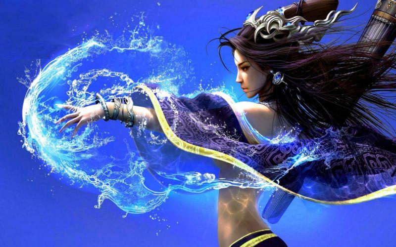 Water Goddess Fantasy - Witch black hair girl wallpaper