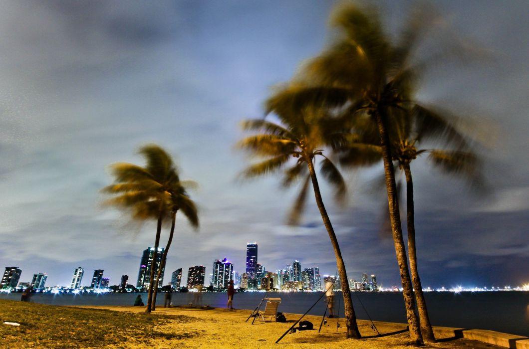 beach bridge cities Florida marina Miami monuments Night panorama panoramic states tower United Urban USA lifeguardtower night wallpaper