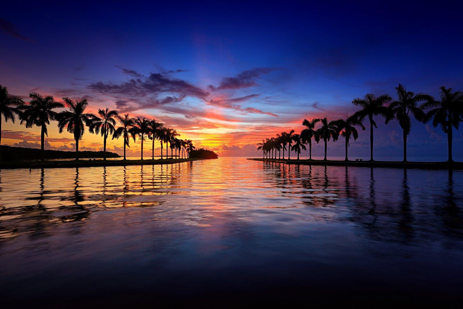 Beach Bridge Cities Florida Marina Miami Monuments Night