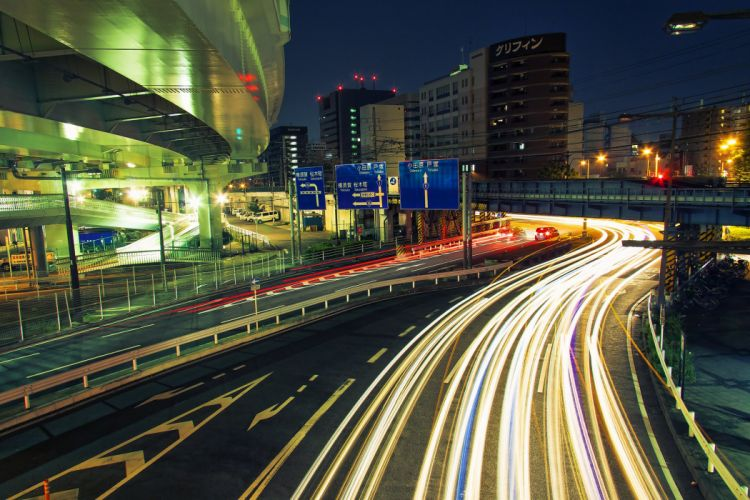 ray light road cities colors wallpaper