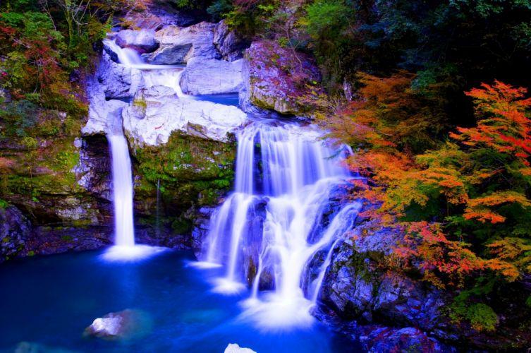 nature foreset waterfalls autumn pool wallpaper