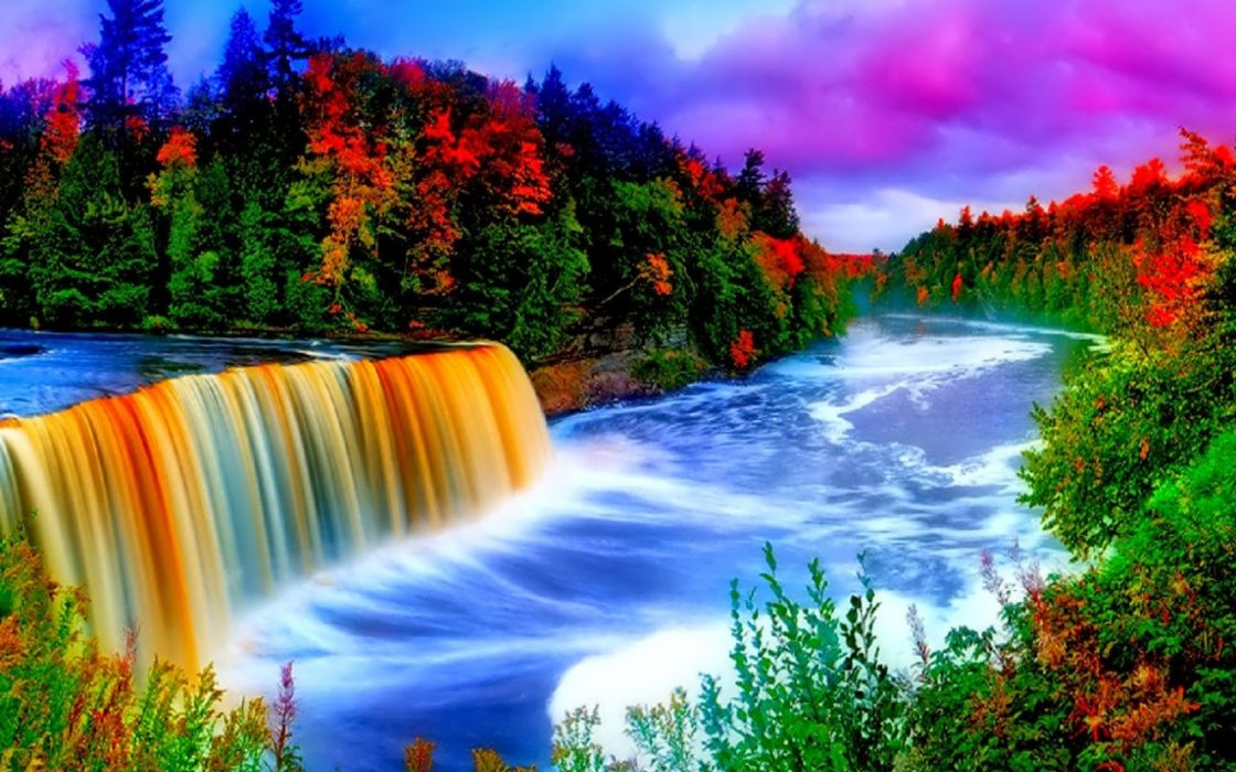 sky trees river autumn clouds wallpaper