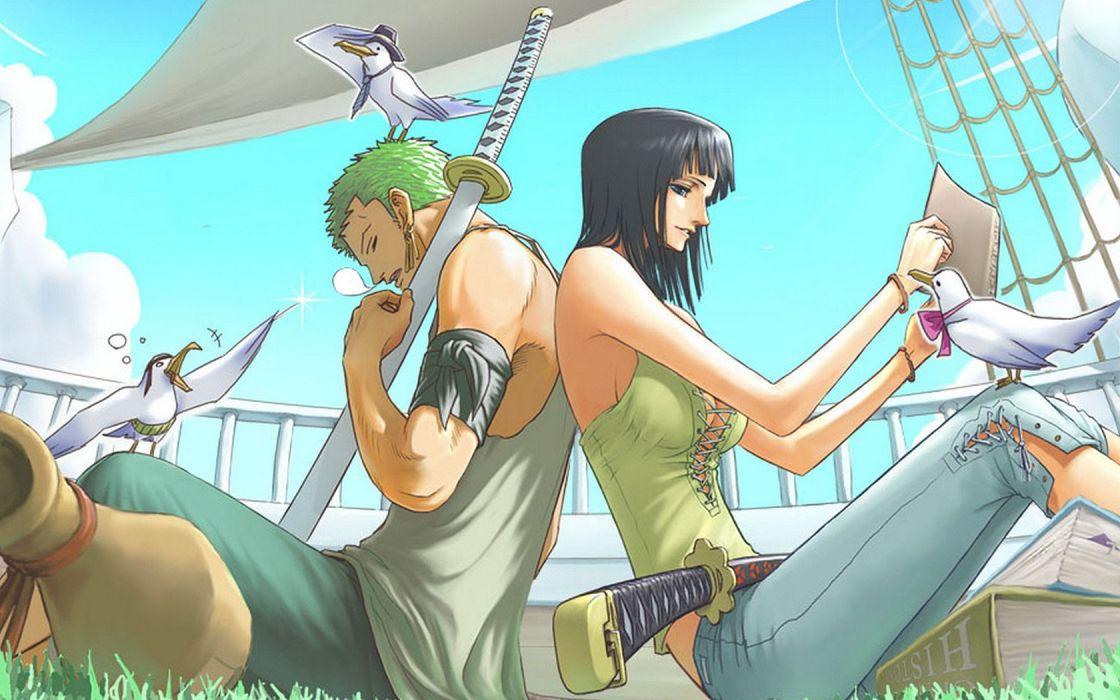 one piece anime series Pirate bird ship wallpaper