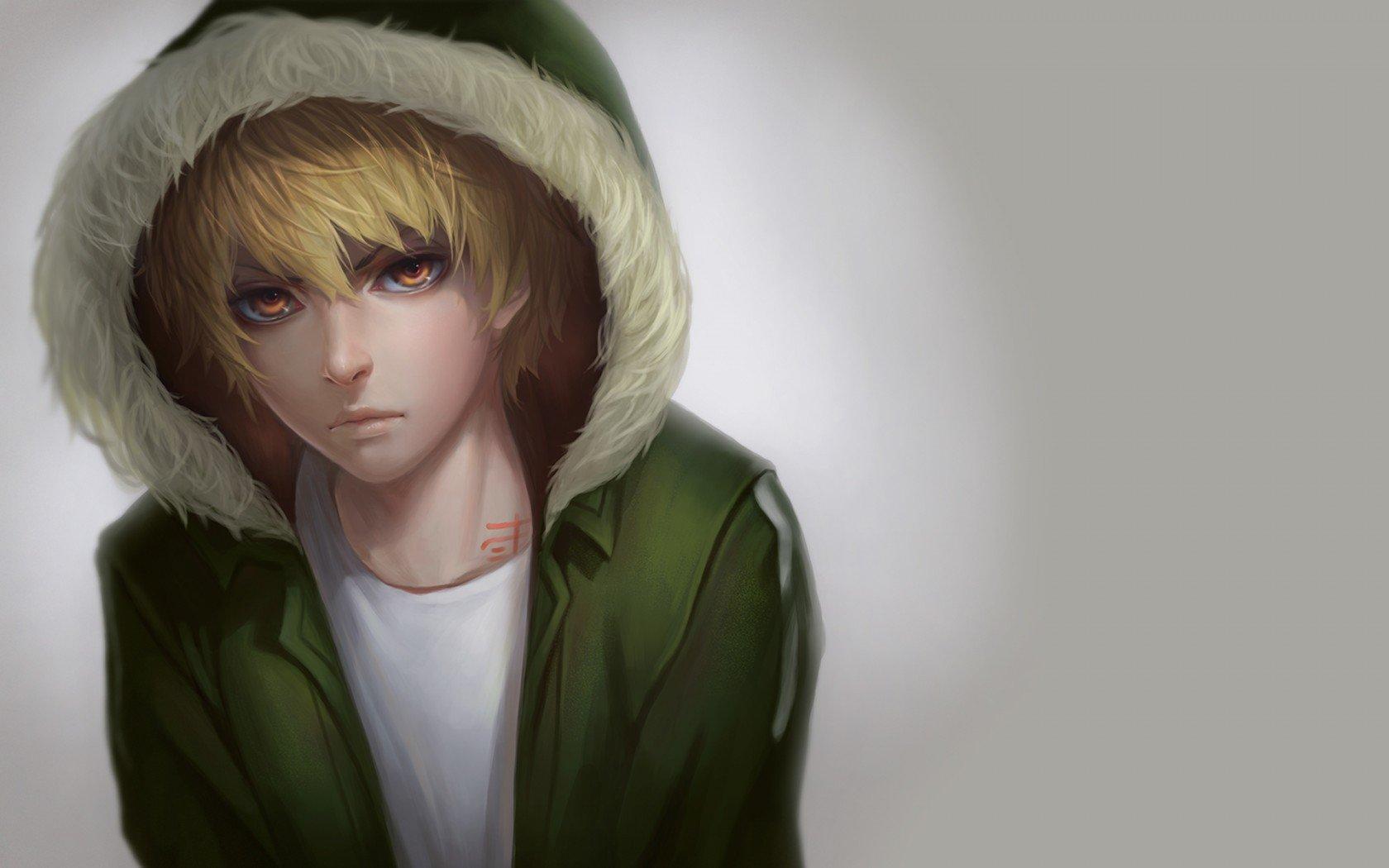 Blond Hair Boy Green Red Eyes Anime Character Wallpaper