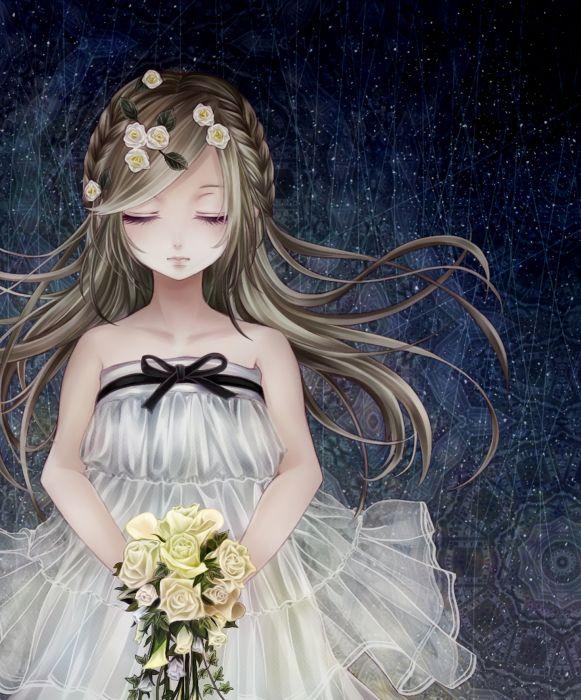 Bouquet Sleeveless Dress White Dress girl wallpaper