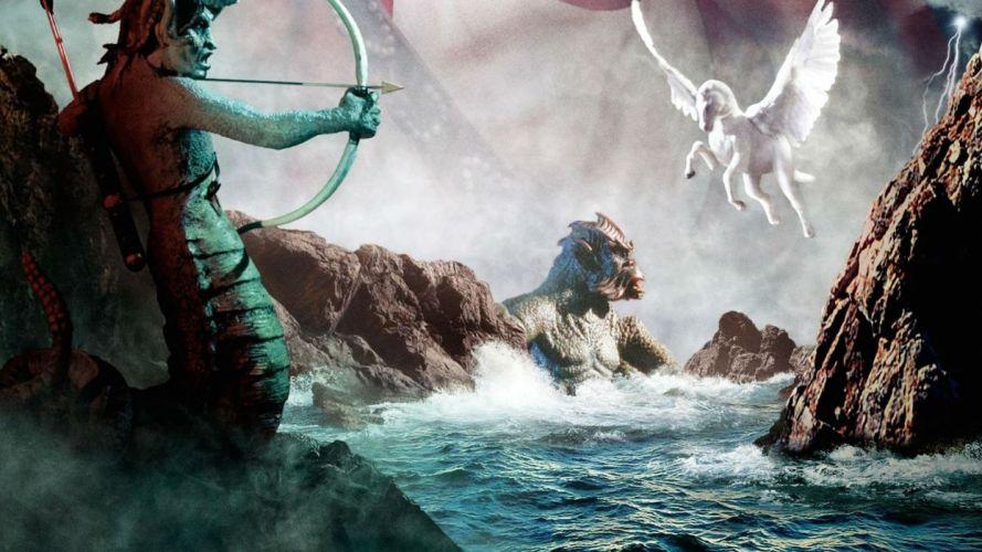 CLASH OF THE TITANS fantasy action adventure medusa pegasus wallpaper