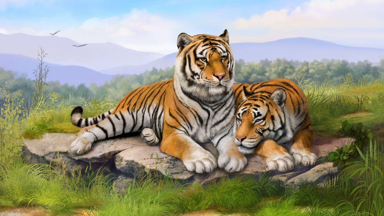 tigers art-3840x2160 wallpaper