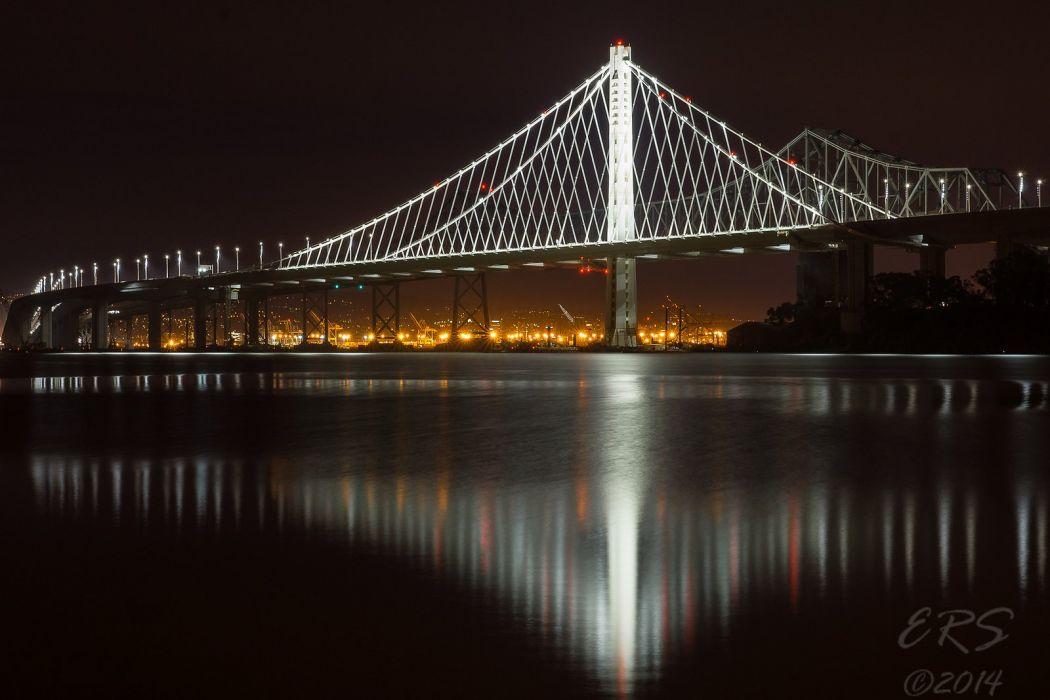architecture bridge cities City Francisco Gate Golden Night San skyline california USA bay sea bridges wallpaper