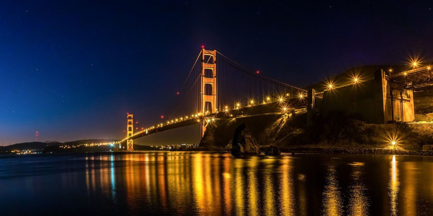 architecture bridge cities City Francisco Gate Golden Night San skyline california USA bay sea bridges wallpaper