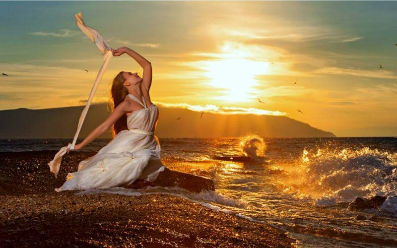 girl - beautiful - sunset - Sea wallpaper