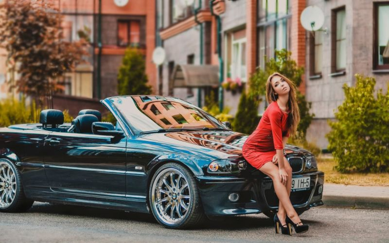 heels model dress sexy woman legs skirt girl BMW car pose wallpaper