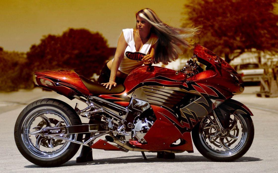 sportbike Beautiful tuning girl wallpaper