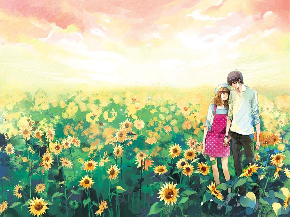 """couple""""holding hands"""" """"short hair"""" """"sky"""" """"smile"""" wallpaper"""