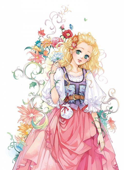 "blonde hair"" ""butterfly"" ""dress"" ""flower"" ""green eyes"" wallpaper"