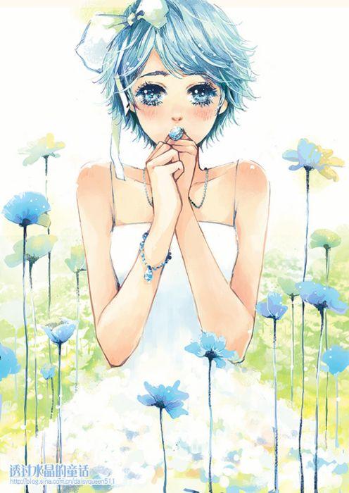 blue eyes flower sundress blush blue hair wallpaper