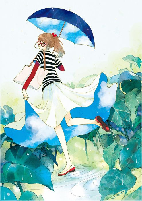 brown hair heart long hair rain ribbon skirt sky umbrella water wallpaper