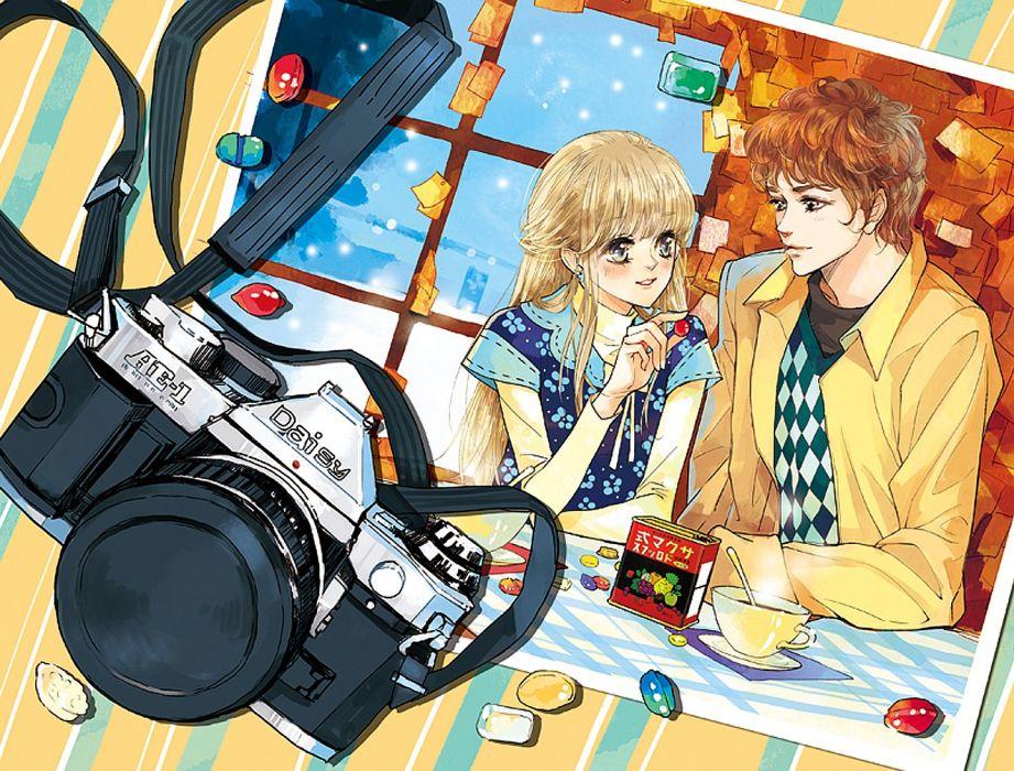 sweets couple smile beverage camera blush boy girl blonde hair wallpaper