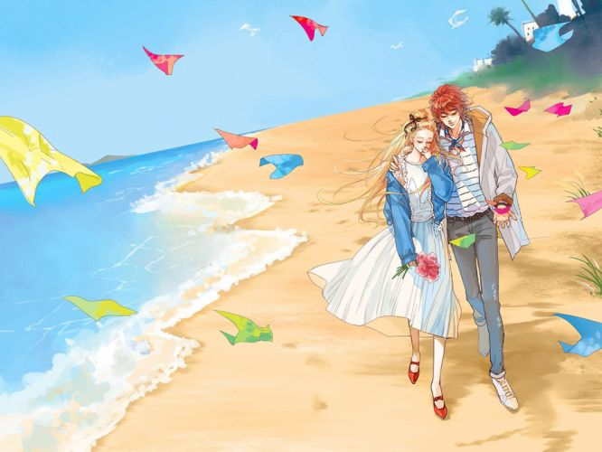 "beach blonde couple hair flower hug jacket long pants red hair ribbon short skirt sky smile tree water"" wallpaper"