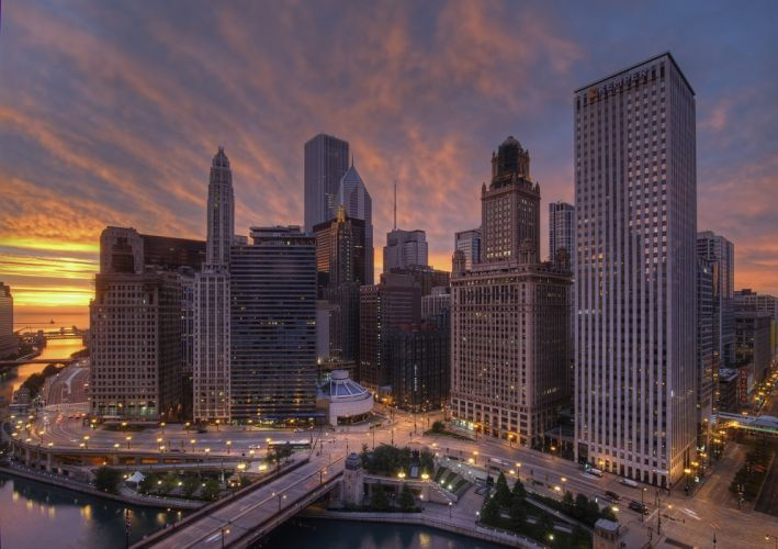 architecture bridges chicago cities City Francisco Night skyline USA Illinois Trump Tower Mid-Ouest comtA wallpaper