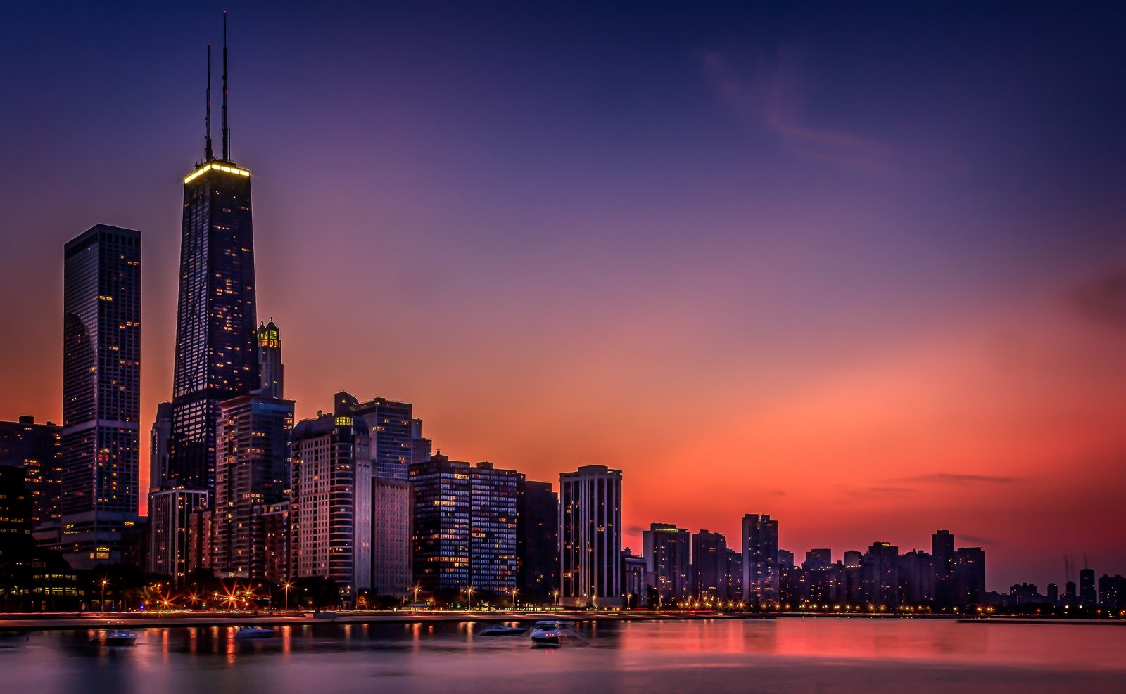 Chicago At Night Wallpaper: Architecture Bridges Chicago Cities City Francisco Night