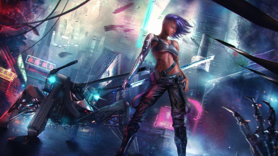 CYBERPUNK - warrior girl sword wallpaper