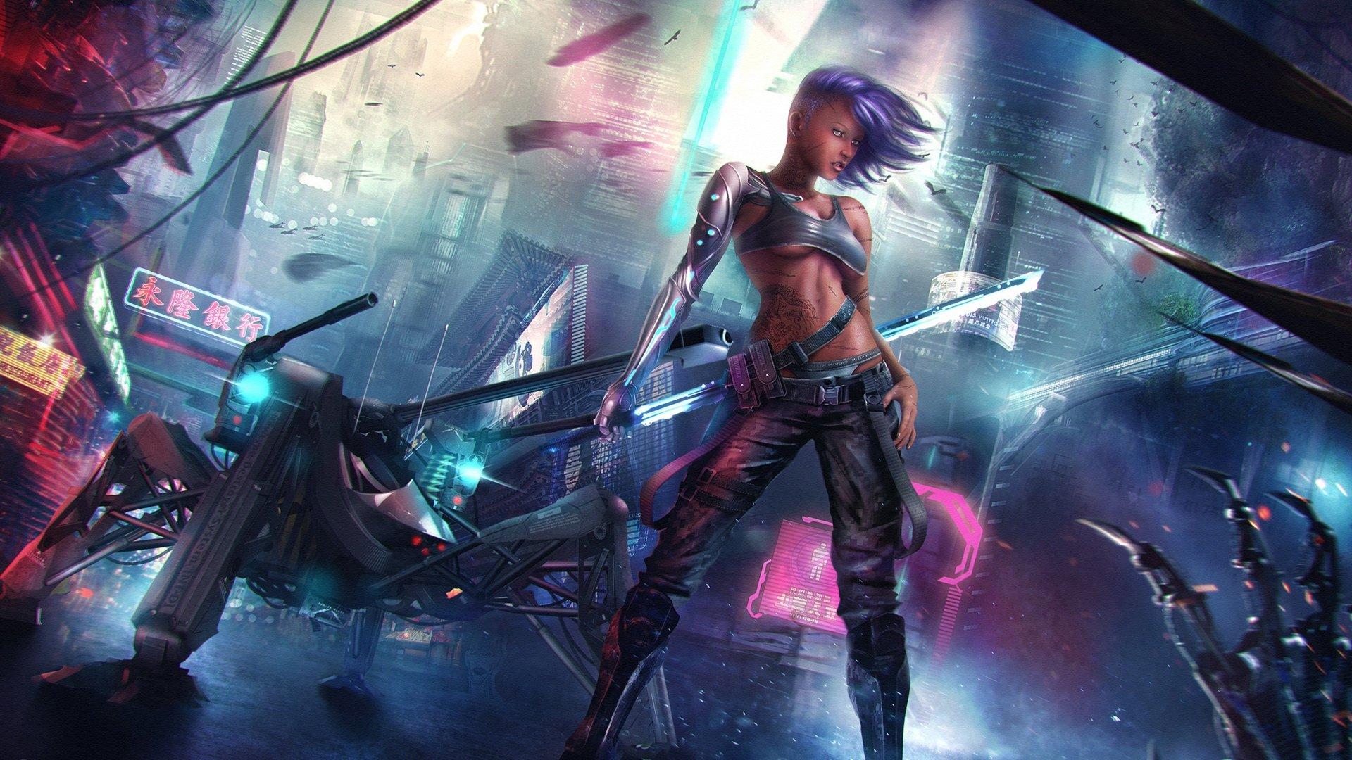 Women Warrior Artwork Sword Rain Cyberpunk Cyberpunk: CYBERPUNK - Warrior Girl Sword Wallpaper