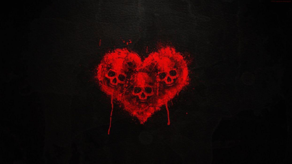 SKULL HEART - art dark red wallpaper