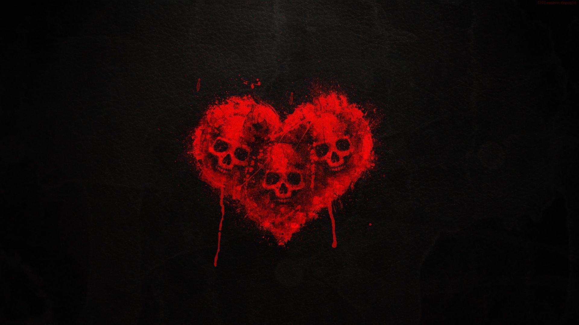 SKULL HEART - art dark red wallpaper | 1920x1080 | 478275 ...