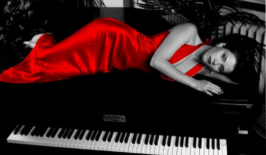 gown red girl digital satin elegant beautiful dress woman photoshop photography fantasy art piano wallpaper color splash wallpaper