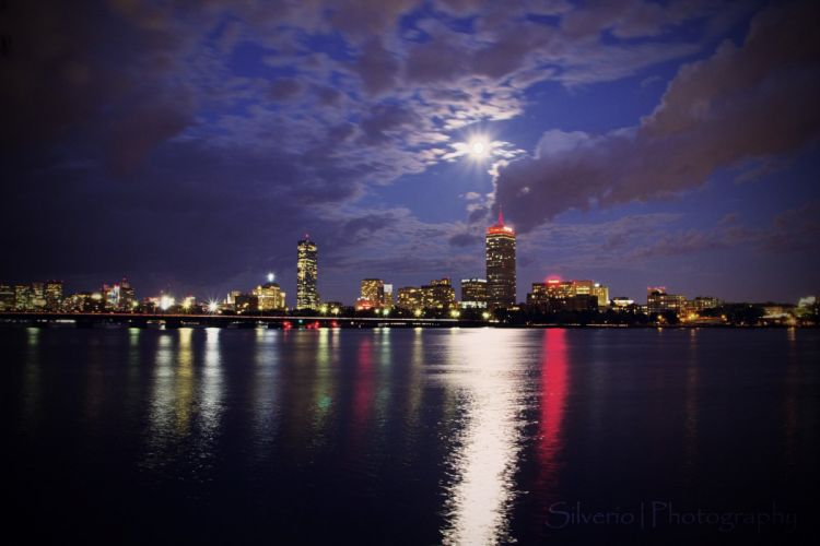 architecture bridges boston BosWash cities City Night skyline USA Massachusetts Tower ocean bay Atlantique pA wallpaper