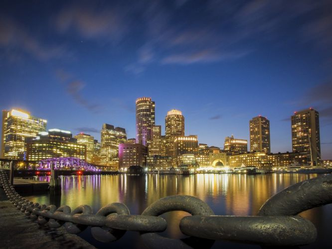 architecture bridges boston BosWash cities City Night skyline USA Massachusetts Tower ocean bay Atlantique pA wallpaper