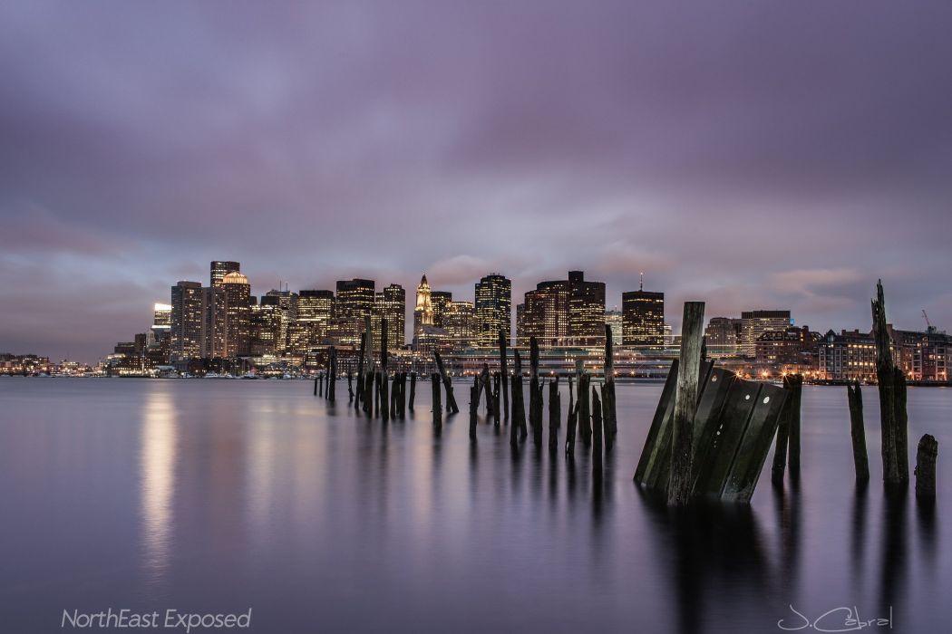 architecture Atlantique bay Boston BosWash bridges cities City massachusetts Night ocean skyline tower USA wallpaper