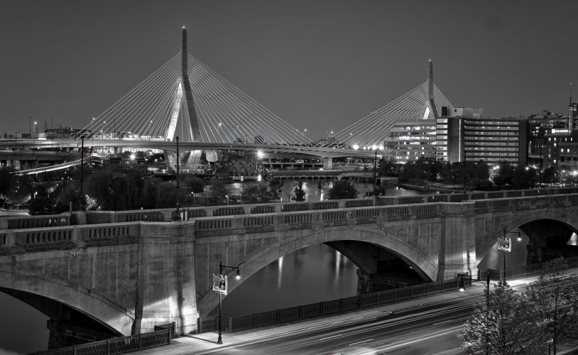 architecture Atlantique bay Boston BosWash bridges cities City massachusetts Night ocean skyline tower USA wallpaper