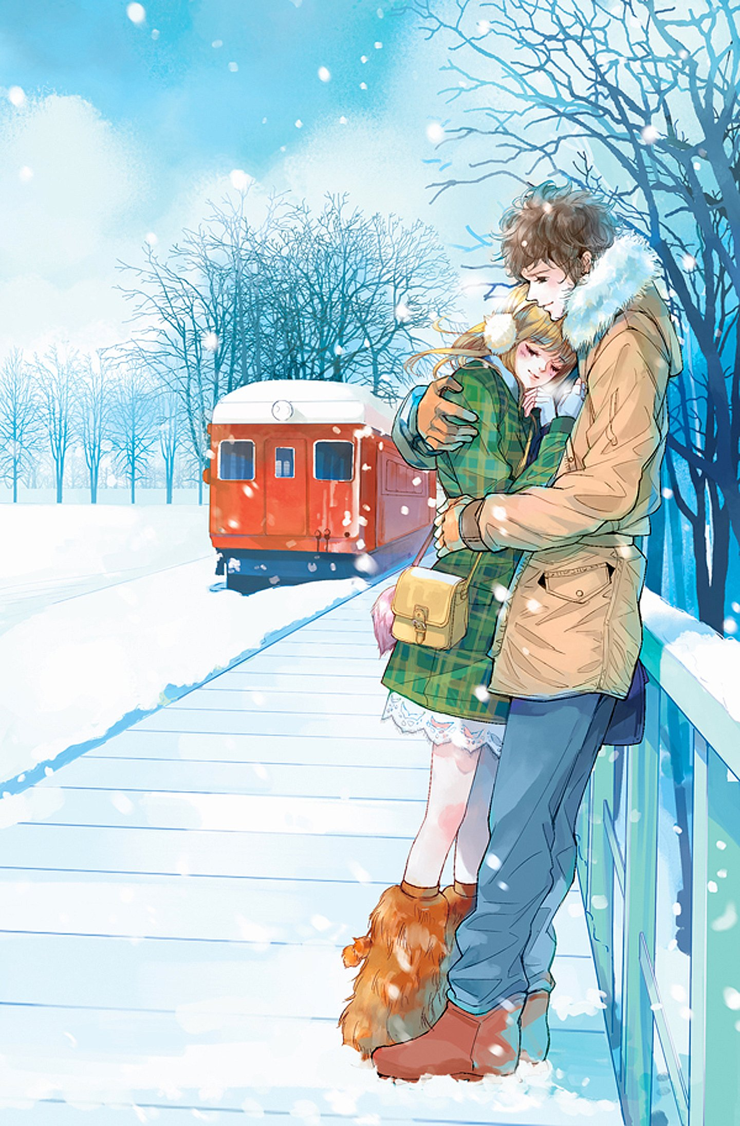 Red Train Anime Couple Snow Romantic Love Tree Wallpaper