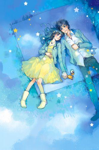 anime couple yellow dress boy love stars romantic blue sky picnic wallpaper