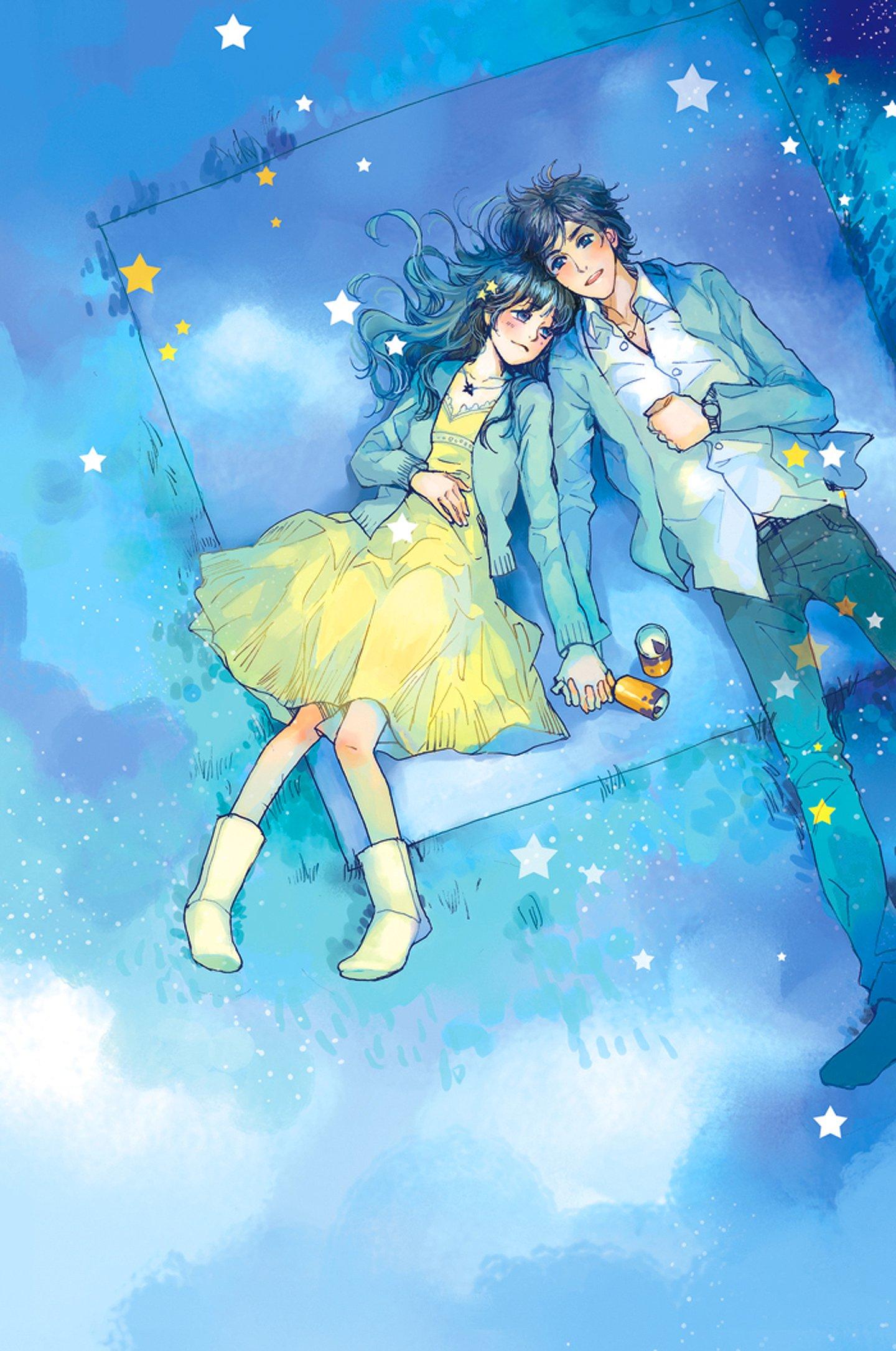 Anime couple yellow dress boy love stars romantic blue sky - Anime couple pictures ...