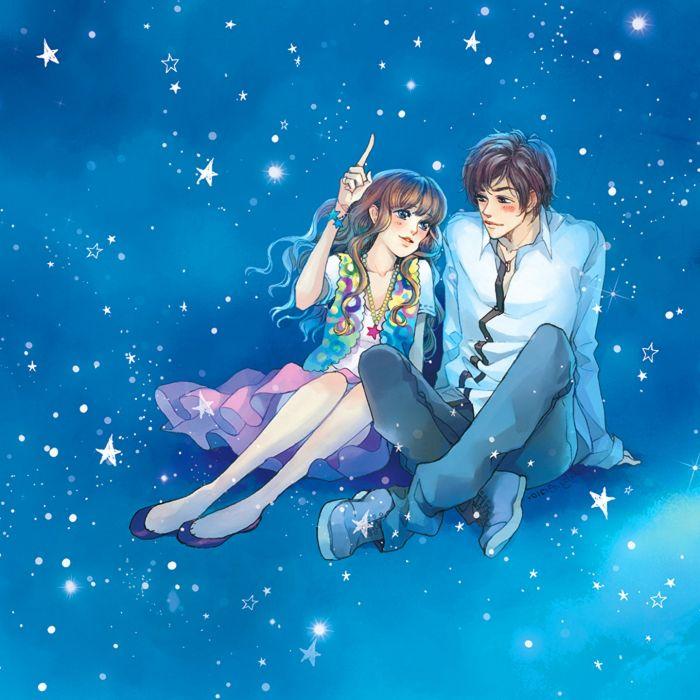 sky love blue romantic couple blue eyes girl boy anime stars wallpaper
