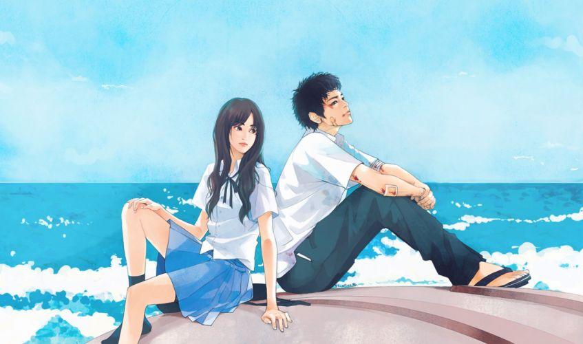 sea blue couple love anime girl boy school uniforms long hair wallpaper