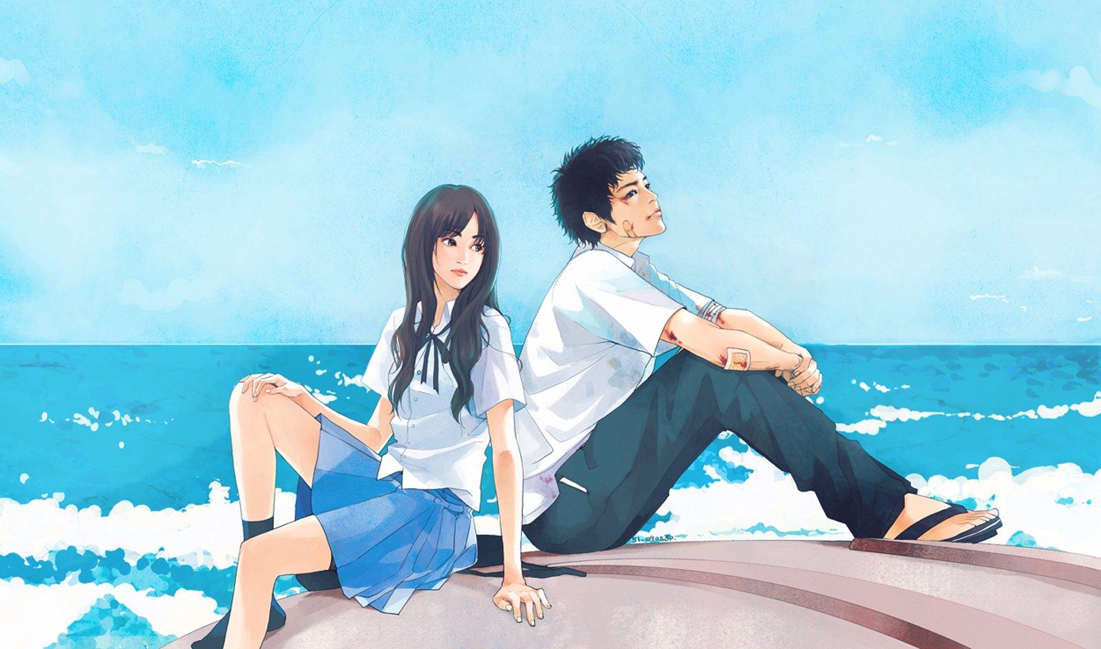 Парень с девушкой на пляже аниме картинки
