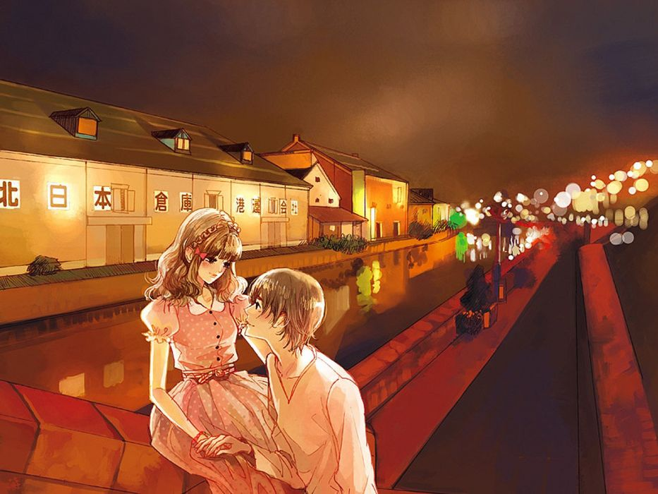 light bokeh couple city dress pretty anime girl boy water love wallpaper