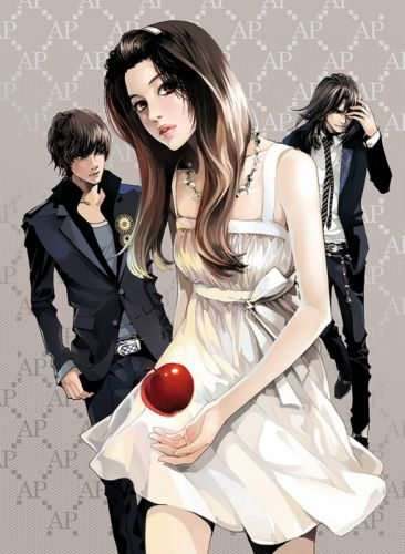 apple red beautiful girl boys black suit dress couples pretty anime wallpaper
