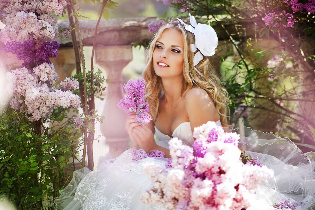 beautiful beauty woman girl blond flowers spring photography lilac bride purple lilacs wallpaper
