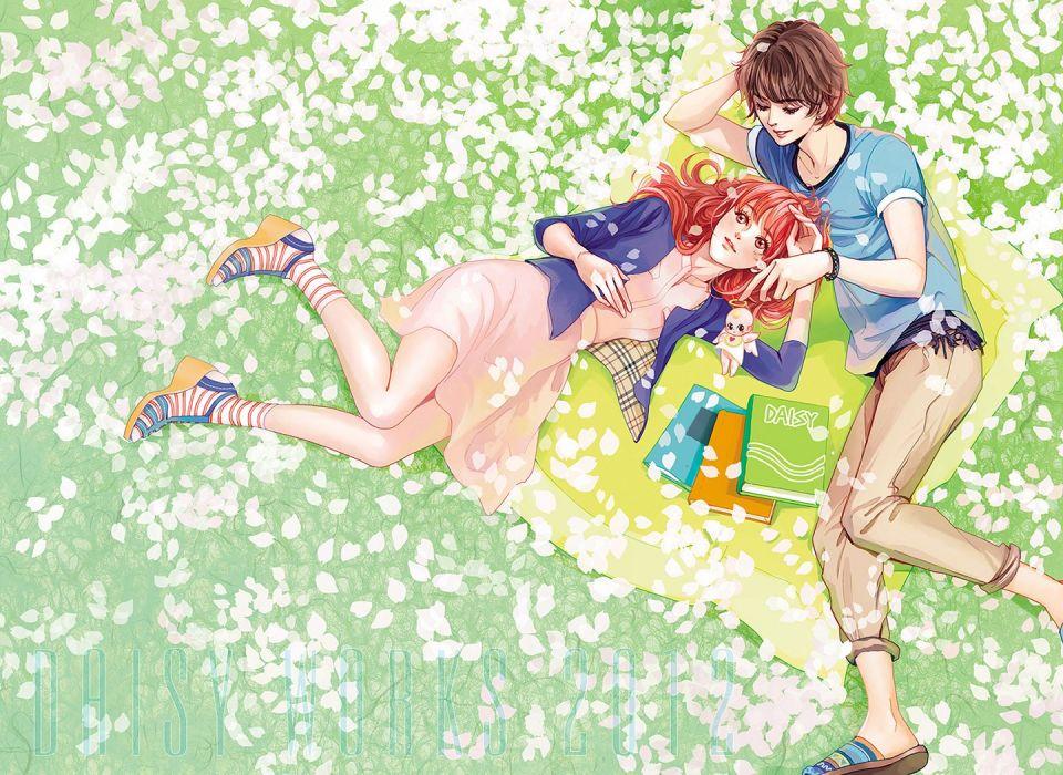 flower garden couple red hair petals girl boy daisy books wallpaper