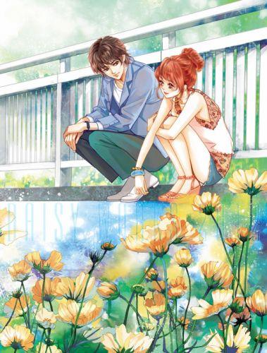yellow flower couple girl boy love romantic brown hair wallpaper