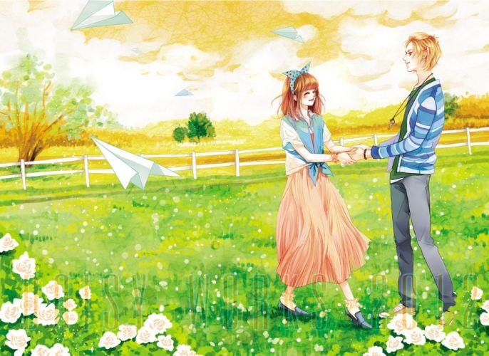 white rose flower couple love romantic tree green field blond boy brown hair girl wallpaper