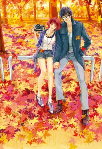 autumn yellow red leaves camera couple girl boy short hair glasses wallpaper