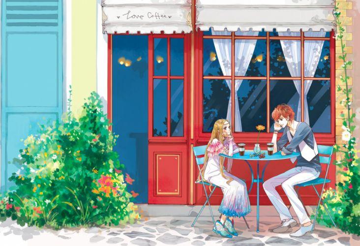 coffee flower couple blonde girl boy long hair chat love wallpaper