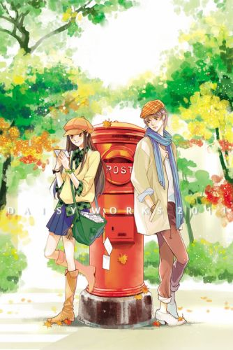 couple red post love Letters short dress long hair girl boy tree forest autumn wallpaper