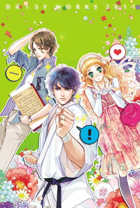 group couple blonde anime girl boys music notes karate kid flowers students wallpaper