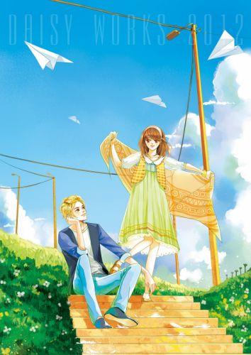 paper airplane blue sky couple flower clouds green dress blond boy brown girl wallpaper